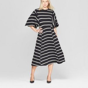 Who What Wear Striped Bell Sleeve A-Line Midi Dres